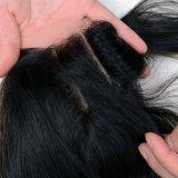 Drei Spitze-Schliessen-gerades Haar 16inches des Teil-peruanisches Menschenhaar-4*4