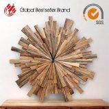 自然な木製のホーム装飾の円形木クロック(LH-M170704)