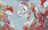 セラミックタイルモデルNo.で印刷される模倣的な救助の彫刻のはすの花および魚の紫外線: CZ-005