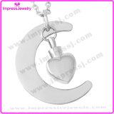 Commemorativi Pendant della collana dell'urna di cremazione del cuore della luna e della stella resi personali incidono i monili dell'urna (IJD9497)
