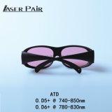 En 207 Atd O.D 5+@740-850nm do Ce dos óculos de proteção do laser de vidros da segurança do laser da manufatura de China, O.D 6+@780 - 830nm para a remoção do cabelo do laser do Alexandrite, laser do diodo 808nm