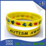 Bracelet clair et bon de couleur de Debossed de logo bleu d'impression de silicones