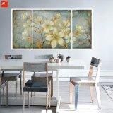 De bloemen Reeks van het Olieverfschilderij van de Gardenia van de Tonen van het Beeld van de Muur Gouden