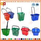 바퀴 (Zhb94)를 가진 다채로운 플라스틱 슈퍼마켓 쇼핑 바구니