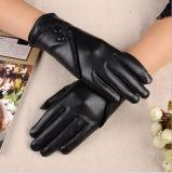 Gants en cuir de noir de cachemire