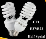 Demi de lampe économiseuse d'énergie spiralée B22 E27 de CFL