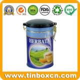 Scatola di rotonda il tè dello stagno con il commestibile, latta del tè