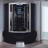 1400mm Setor Sauna de vapor preto com jacuzzi e Tvdvd (AT-G9050TVDVD)