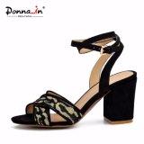 (Donna-в) ткань Weave способа сопрягая сандалии женщин высокой пятки Microfiber