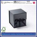 Черная твердая бумажная складывая коробка с Silk закрытием тесемки