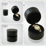 Caixa de relógio de couro PU redonda para armazenamento de 1 relógio