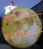 LED 빛을%s 가진 토끼를 가진 거대한 팽창식 달 풍선