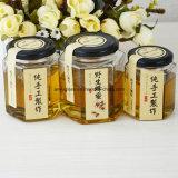 Chocs en verre de Hexahedron pour la confiture de nourriture de miel avec la taille différente