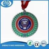 Kundenspezifisches Sportereignis-Silber überzogene Medaille mit sublimiertem Farbband