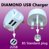 2USB move o carregador da parede com plugue das BS