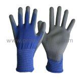 Blauwe Polyester Gebreide Handschoenen met het Grijze Onderdompelen van Pu
