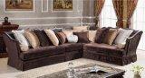居間のための従来のチョコレート布のラクダの背部部門別のソファー