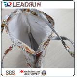 Bolso de compras no tejido de la mano de la lona del algodón del cuero del bolso de compras del morral (X0738)