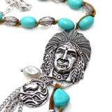 De belangrijkste Hoofd Inheemse Hoofd Synthetische ImitatieHalsbanden van de Steen in anti-Zilver