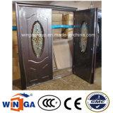 二重Doorleaf外部のPodwerのコーティングの機密保護の鋼鉄ガラスドア(W-SD-10)