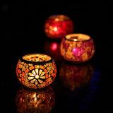 ガラスモザイク茶ライト蝋燭ホールダーの結婚式のホールダーのホームクリスマスのホールダー