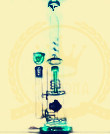Tubo de agua de cristal del tabaco de la corona T6 del reciclador del color del tazón de fuente del arte del cenicero de los tubos de la burbuja verde embriagadora de cristal de cristal alta de cristal del cubilete