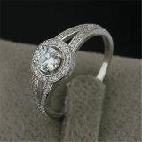 Prata elegante do sólido do projeto do halo. Anel de casamento de 925 acoplamentos