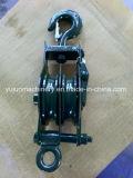 7112 tipo abierto bloque de polea con la polea acanalada del doble del gancho de leva