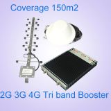 Spanningsverhoger 900 1800 van het Netwerk van Lte van de steun 2g 3G 4G Mobiele Spanningsverhoger van het Signaal van de Band van de Repeater van 2600 Signaal de Tri