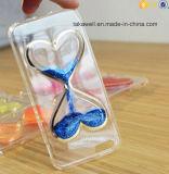 Tipo líquido barato caixa do coração do Glitter da areia da venda por atacado 3D TPU do telefone do Quicksand para o caso da tampa do iPhone 5/5s/Se