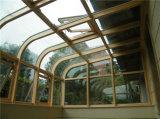 Baixos-e Sunrooms de vidro do projeto especial, cor de Cutomized do projeto do arco da parte superior redonda/casa bonita do jardim Spesialty da forma