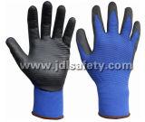 Le Special en nylon bleu a structuré les gants fonctionnants tricotés, enduits des nitriles lisses noirs sur la paume (N1575)