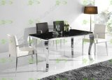 (ST-091) Home mobília moderna vidro temperado mesa de jantar