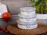 China 3 pedazos que mezclan los tazones de fuente del almacenaje del tazón de fuente del esmalte