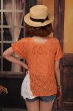 オレンジプリーツのレースの側面のパフ・スリーブのセーター