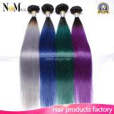 Burgunder/Purpurrote/Rote/Grün-/grauer Ton-brasilianische gefärbte Haar-Bündel der Ombre Menschenhaar-Webart-9A zwei