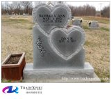 Headstone commemorativo della pietra del granito della natura con la doppia mano del cuore intagliata