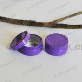 スリップのふた(紫色カラー)が付いている小さい円形のアルミ缶