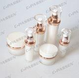 真珠の白いアクリルの贅沢で装飾的な包装のクリーム色の瓶(PPC-ACJ-060)