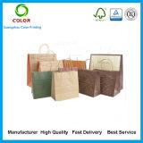 Sacs en papier en gros de Brown de sacs à provisions de papier de Brown emballage