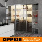 Cabina de cocina de madera de la laca blanca aerodinámica de moda de Oppein (OP16-L17)