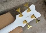 Musique de Hanhai/guitare 4-String basse électrique Semi-Creuse blanche avec le grippement d'or