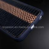 Roxo azul com a caixa do couro genuíno de Brown para o iPhone 6plus
