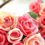 Fleur artificielle de vente chaude de bouquet de Rose de 12 couleurs (SF12504)