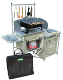 Kampierender Küche-Mitte-Standplatz-beweglicher faltender Aluminiumpicknick-Luxuxtisch mit Windfang (QRJ-T-003D)