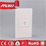 白い電源の壁の電話アウトレットのソケット