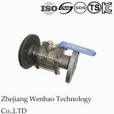 L'acier inoxydable du bâti 3PC a bridé robinet à tournant sphérique avec DIN 3202