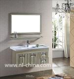Grand Module de salle de bains en céramique d'acier inoxydable de bassin des graines en bois