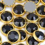 DMC HotfixのラインストーンSs16 4mm黒いAluminunの縁の服(SS16 Jet/Aの等級)のための接着剤が付いている熱い苦境の石