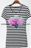 T-shirt rond adapté de fille d'été de cou de coton de piste de femmes de mode